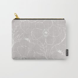Floral Simplicity - Gray Carry-All Pouch