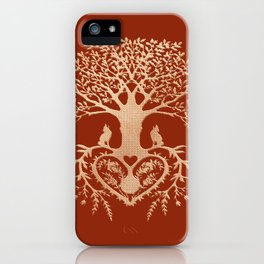 Rose Gold foil Tree of Life with Heart Roots iPhone Case