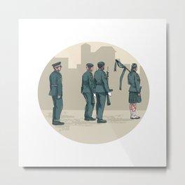 Soldier Bagpiper Marching Circle Watercolor Metal Print