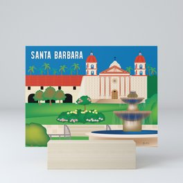 Santa Barbara, California - Skyline Illustration by Loose Petals Mini Art Print