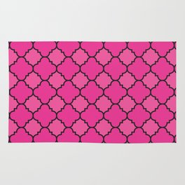 Quatrefoil - Pink & Black Rug