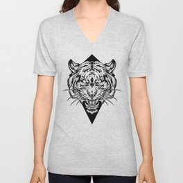 TIGER head. Tattoo,psychedelic / zentangle style Unisex V-Neck