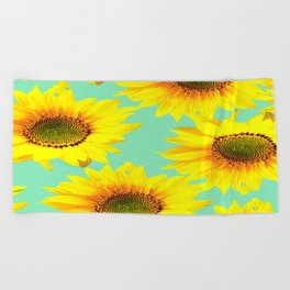 Sunflowers on a pastel green backgrond - #Society6 #buyart Beach Towel