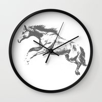 horse Wall Clocks featuring Horse by Anna Shell