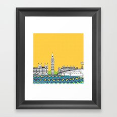 London Town Pop Art with spotty sky Framed Art Print