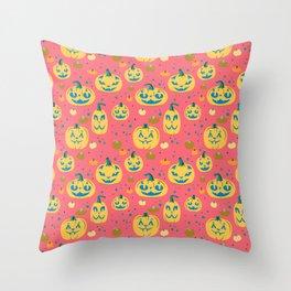 Tropical Cat o' Lanterns Throw Pillow