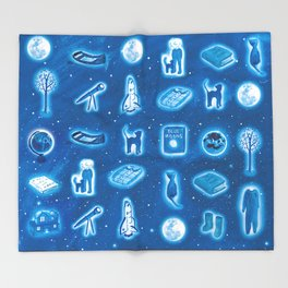 The Boy and the the Blue Moon Throw Blanket