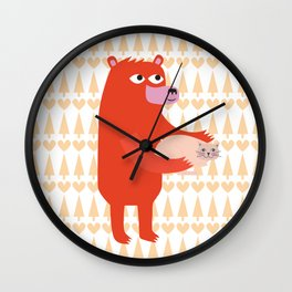 Bear and cat BFF Wall Clock