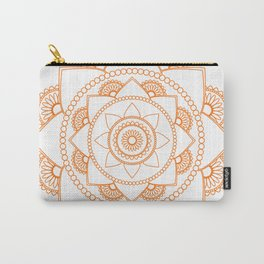 Mandala 01 - Orange on White Carry-All Pouch