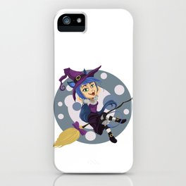 Smiling friendly witch flying on broom iPhone Case