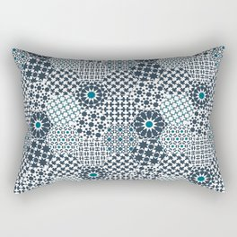Spanish Tiles of the Alhambra - Gray & dark Aquamarine Rectangular Pillow
