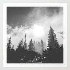 Dark & Eerie Forest (Black & White) Art Print