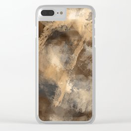 Stormy Abstract Art in Brown and Gray Clear iPhone Case