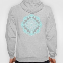 Teal and Aqua Lace Mandala on Grey Hoody