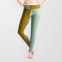 4 Stripe Minimalist Color Block Pattern in Blue, Golden Mustard and Aqua Mint on White Leggings