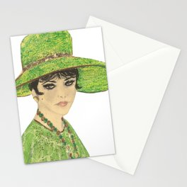 Lady In Green Stationery Cards
