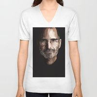 steve jobs V-neck T-shirts featuring Steve Jobs by Misha Libertee