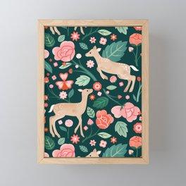 Festive Fawns Forest Green  Framed Mini Art Print