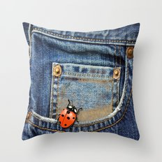 Lady Bug in My Pocket Throw Pillow
