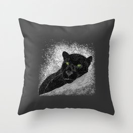 Black panther on a branch - Grey Throw Pillow