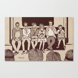 Masked-Smiley in public transport Canvas Print