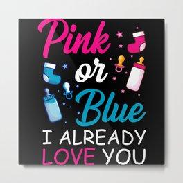 Pink Or Blue Baby Newborn Gift Metal Print