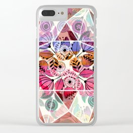 Pink and indigo flower pattern Clear iPhone Case