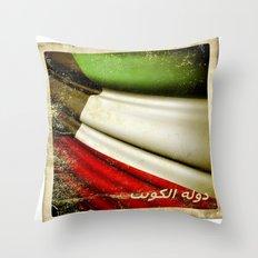 Grunge sticker of Kuwait flag Throw Pillow
