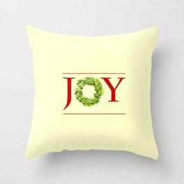 JOY Christmas Wreath  Throw Pillow