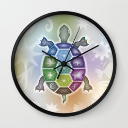 Fine Tattooed Turtle Wall Clock