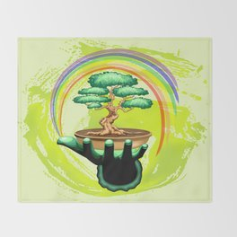 Bonsai Tree and Rainbow on Green Hand - Protecting Nature Throw Blanket