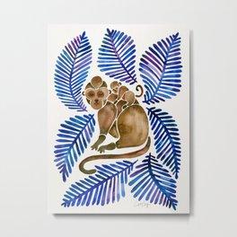 Monkey Cuddles – Navy Leaves Metal Print
