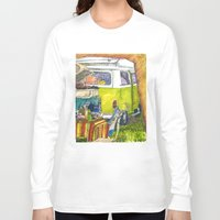 volkswagon Long Sleeve T-shirts featuring VW Bus Campsite by Barb Laskey Studio
