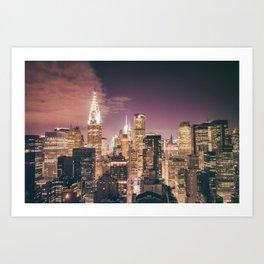 New York City - Chrysler Building Lights Art Print