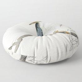 Quack on erratic branch (1900 - 1910) by Ohara Koson (1877-1945) Floor Pillow