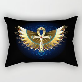 Gold Ankh with Wings Rectangular Pillow