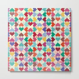 Colorful Love Pattern Metal Print