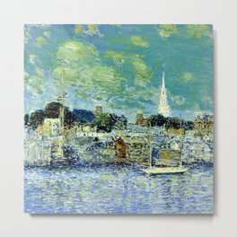Classical Masterpiece 'Newport, Rhode Island Waterfront' by Frederick Childe Hassam Metal Print