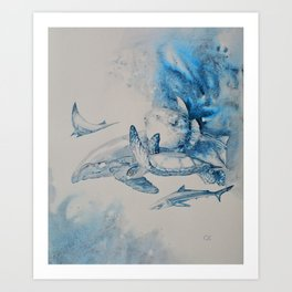 Gulf Stream - Whale, Sea Turtle, Shark Art Print