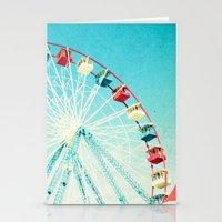 ferris wheel Stationery Cards featuring Ferris Wheel by Mina Teslaru