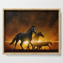 Wild Black Horses Serving Tray