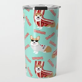 Corgi Bacon art print cute corgis dog bacon food corgis pillow funny bacon design Travel Mug