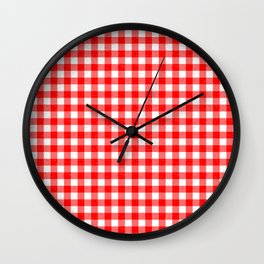 Gingham Red and White Pattern Wall Clock