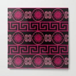 Ornate Greek Bands in Pink Metal Print