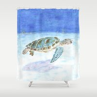 sea turtle Shower Curtains featuring Sea turtle by Savousepate