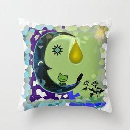 Sun, Moon and Earth Throw Pillow