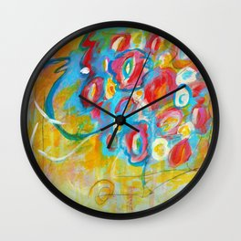 Abstract Art Floral Painting Flowers Wall Clock