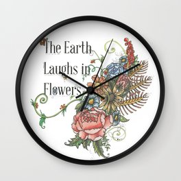 Laughing in Flowers Wall Clock