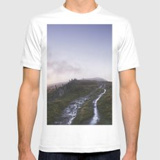 Mountain path and fence at sunset. Derbyshire, UK. Mens Fitted Tee MEDIUM White