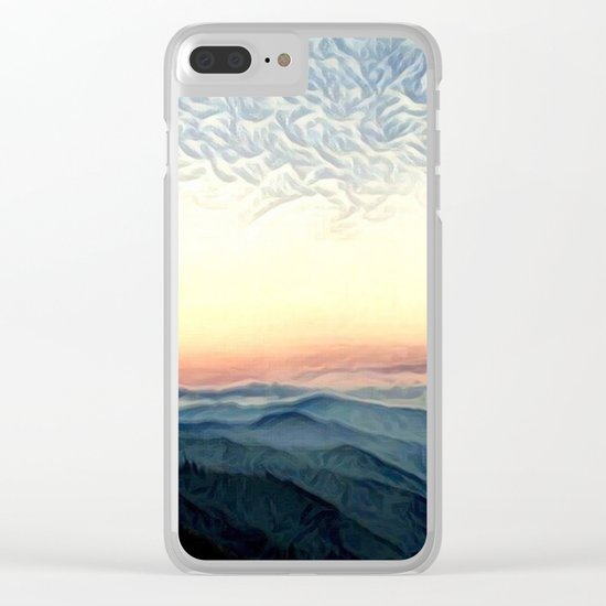 Pastel Sunset over Mountains (Hipster Landscape) Clear iPhone Case